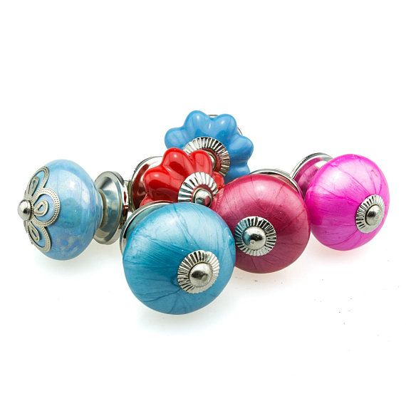 6er Set Nr 6 379 Blau Pink Rot Handbemalte Indische Mobelknopfe Mobelgriffe Mobelknopf Mobelknauf Keramik Shabby Kommode Vintage Cuff Accessories Cufflinks