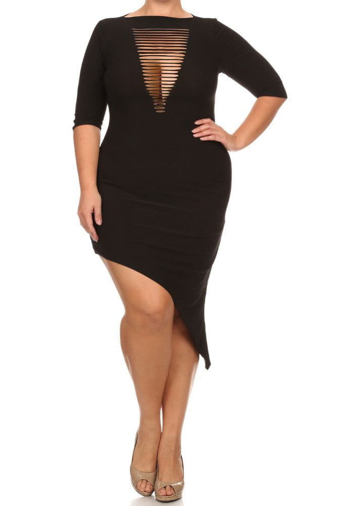 Plus size mesh cut out dresses