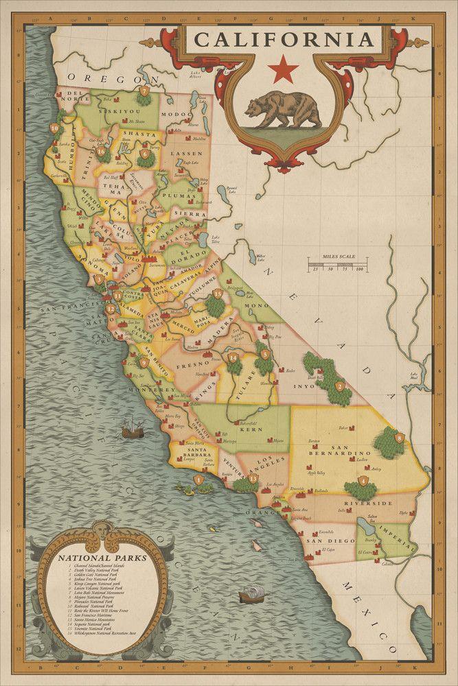 California National Parks Map National Park Art California