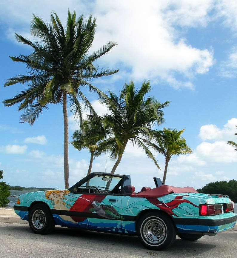 The 87 Mermaid Mustang (R.I.P). Art Car. By Miami Artist Gerry Stecca. Seen here in Key Largo, Florida.  www.GerryStecca.com