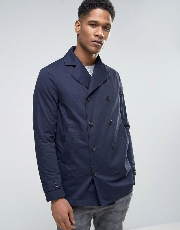 Sisley Double Breasted Pea Coat With Waxed Lining  aca3b47de