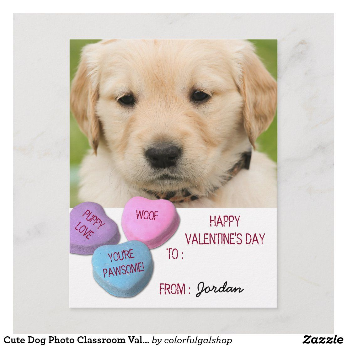 Cute Dog Photo Classroom Valentine Candy Hearts Holiday Postcard Zazzle Com In 2020 Valentine Candy Hearts Cute Dog Photos Valentine Candy