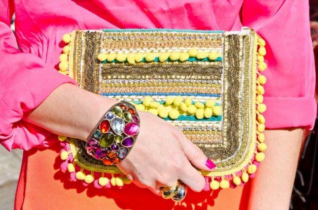 Embellished pom pom clutch