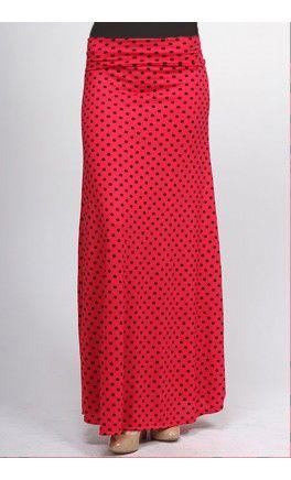 Modest Long Polka Dot Maxi Skirt