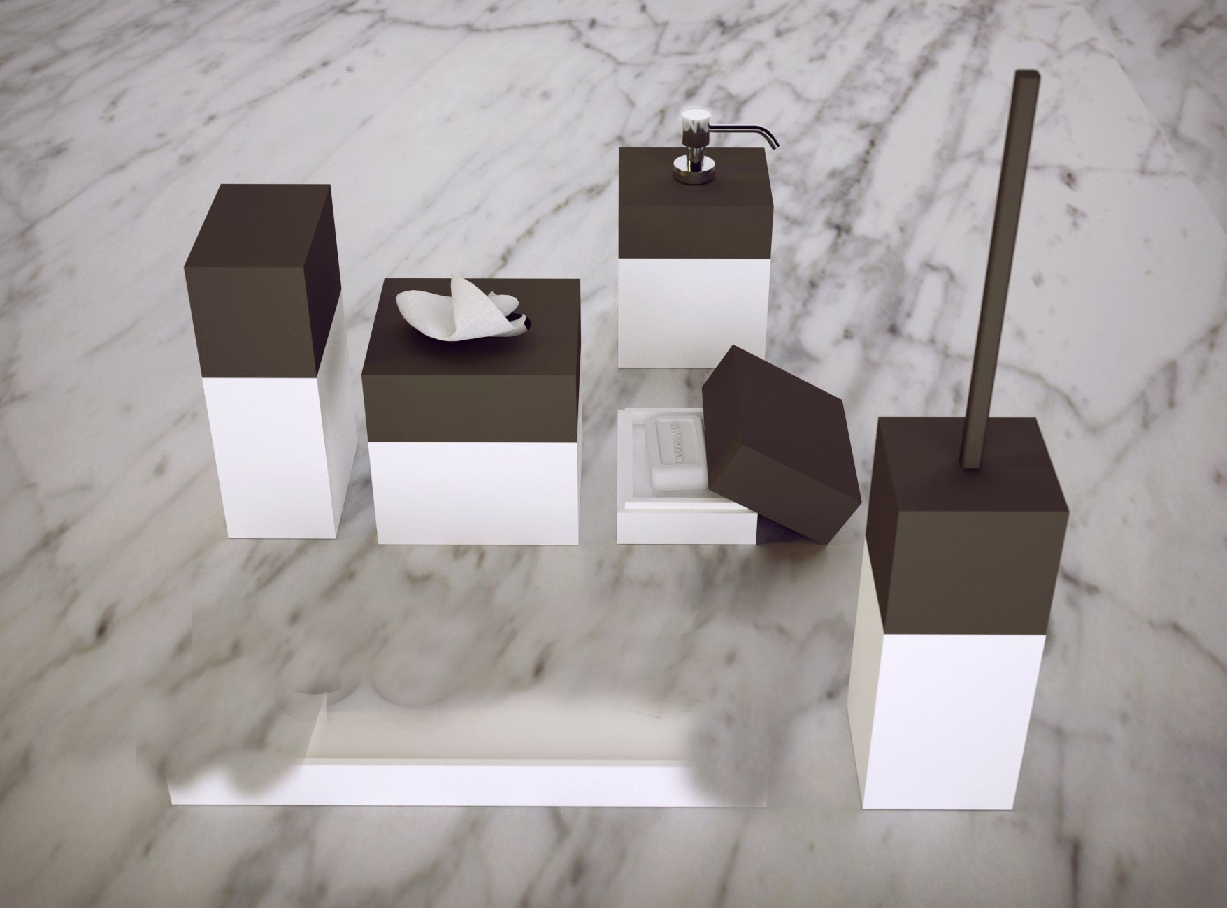 Knief K Stone Pure Bathroom Top Counter Accessories In Solid Surface White And Black A05 Modern Bathroom Accessories Interior Design