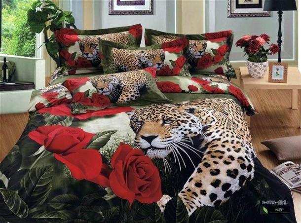 Set Includes: Leopard 4PC Bed Set 2 x Pillowslip 45 x 75cm 1 x Flat Sheet 250 x 250cm 1 x Quilt Cover 200 x 230cm http://africanartonline.com/leopard-red-rose-4pc-bedding-set/