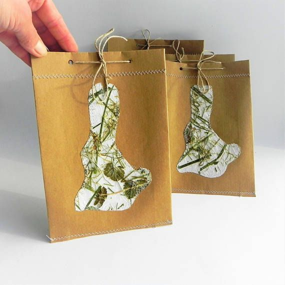 Easter gift bags from natural paper with bunny handmade handmade easter gift bags from natural paper with bunny handmade negle Gallery