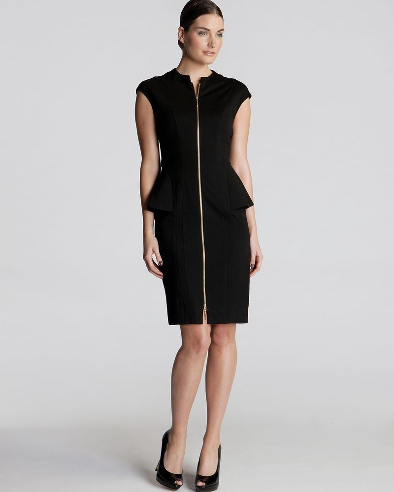 e66daf53c TED BAKER Black JANTHUM Structured Zip Detail Peplum Dress ~ Sz 2   US 6  NWOT  TedBaker  Peplum  Cocktail