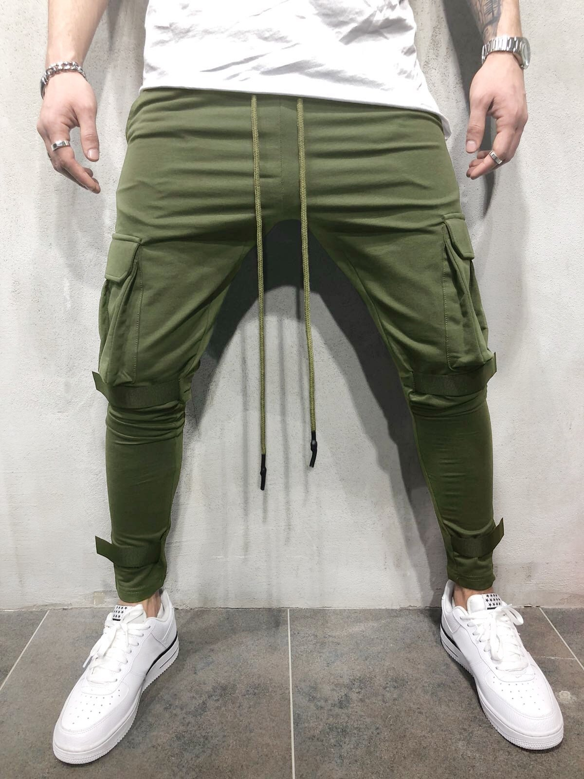 dc16f339a1bb26 Belt Decorated Whole Colored Jogger Pants | Boys Style 2020 | Mens ...