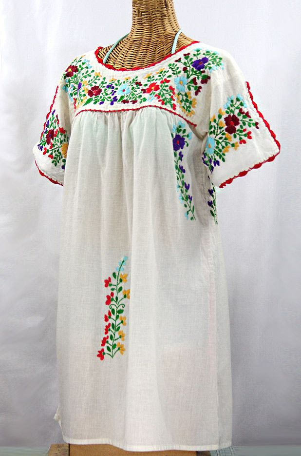 Mexican dress, White embroidered dress, Exotic summer dress,Flower Peasant  dress,Frida