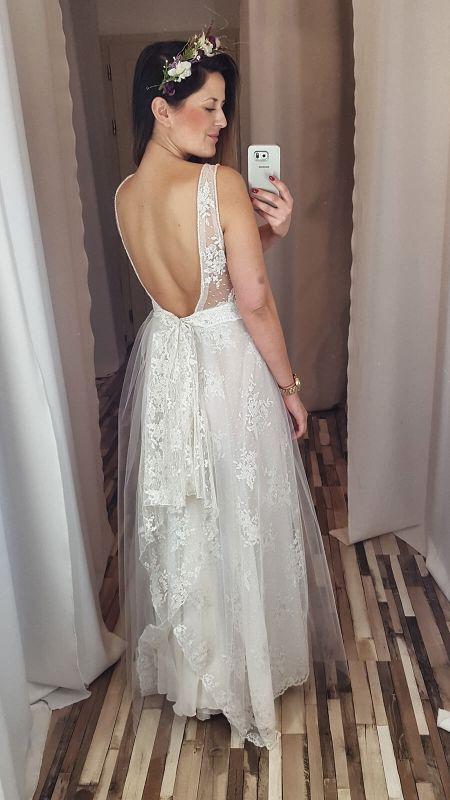 39fffe6c1d Długa boho sukienka z koronkowym topem i piętrową spódnicą