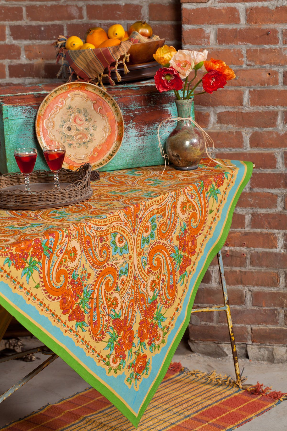 Paris paisley tablecloth table linens kitchen tablecloths fabulous new signature april cornell clothing kids wear and linens for a beautiful home kitchen tableclothsapril workwithnaturefo