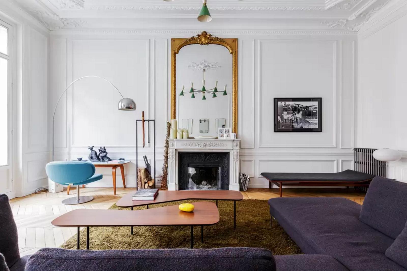 interior design, paris apartment, gold mirror, arco lamp, mid ...