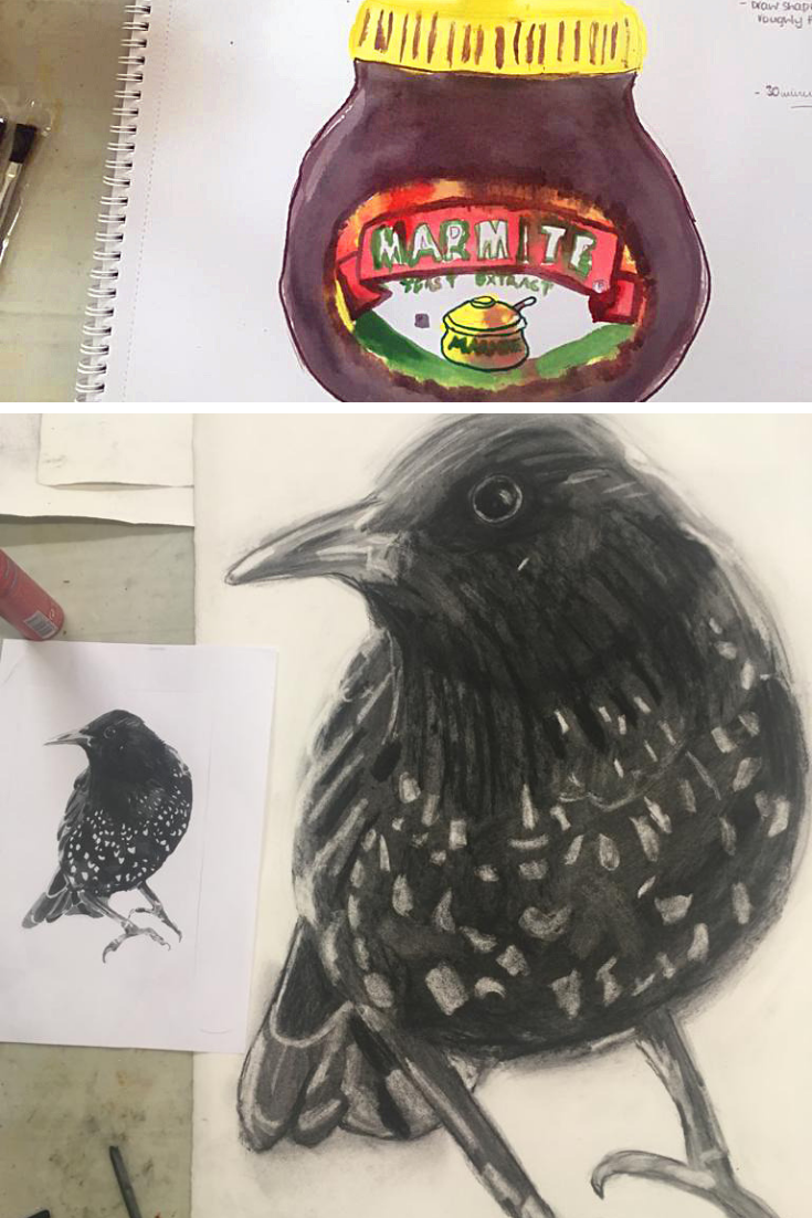 Snapshots of some amazing work from our Beginners' Drawing