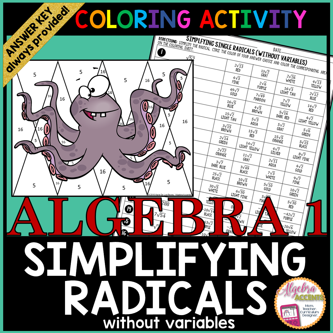 Printables Of Simplifying Radicals With Variables
