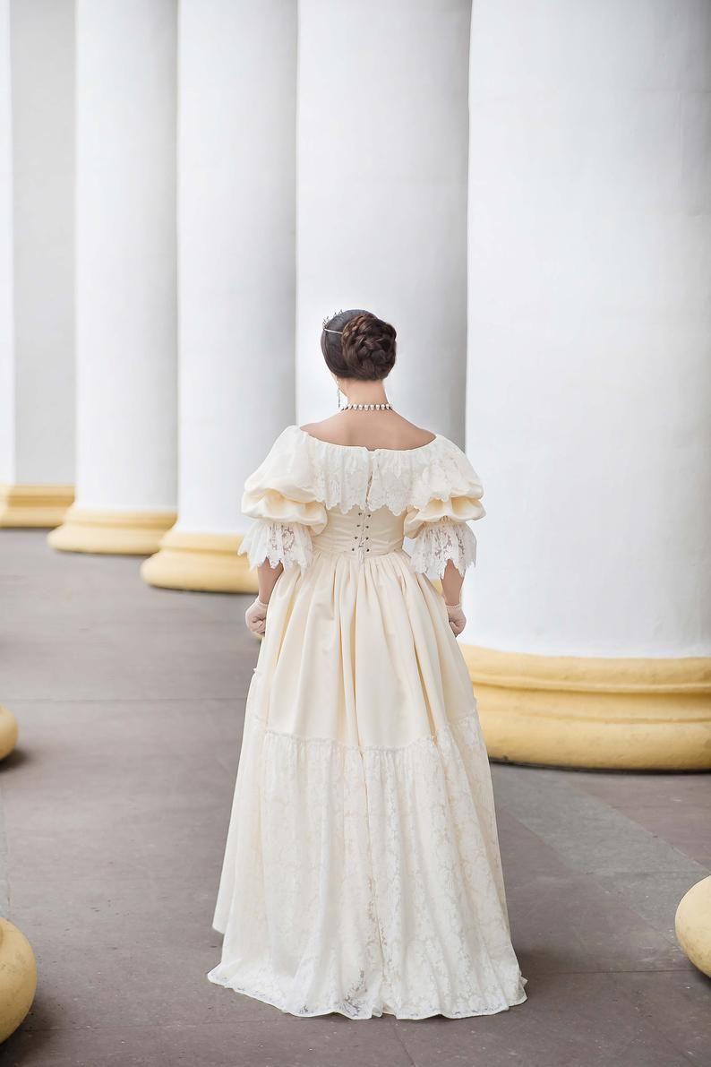 Young Victoria Wedding Dress 1840s Wedding Gown Etsy Victoria Wedding Dress Queen Victoria Wedding Dress Regency Wedding Dress [ 1191 x 794 Pixel ]