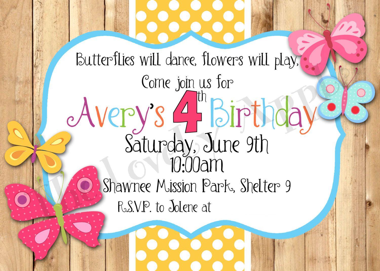 Butterflies Birthday Invitation | Craft Ideas | Pinterest ...