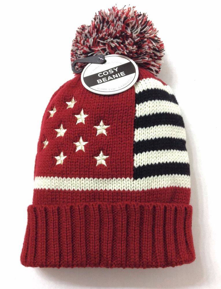 Women STARS STRIPES POM BEANIE Red Ivory Black Winter Knit American Flag  Ski Hat  UnderOneSky  Beanie  Winter 4523b07bb