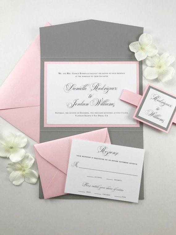 Pink And Gray Pocket Card Invitation Grey And Blush Wedding Invites