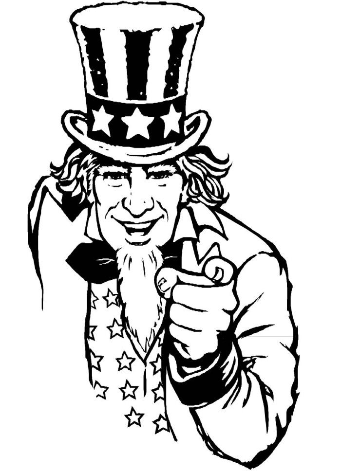 Uncle sam in fourth of july coloring pages fourth of july