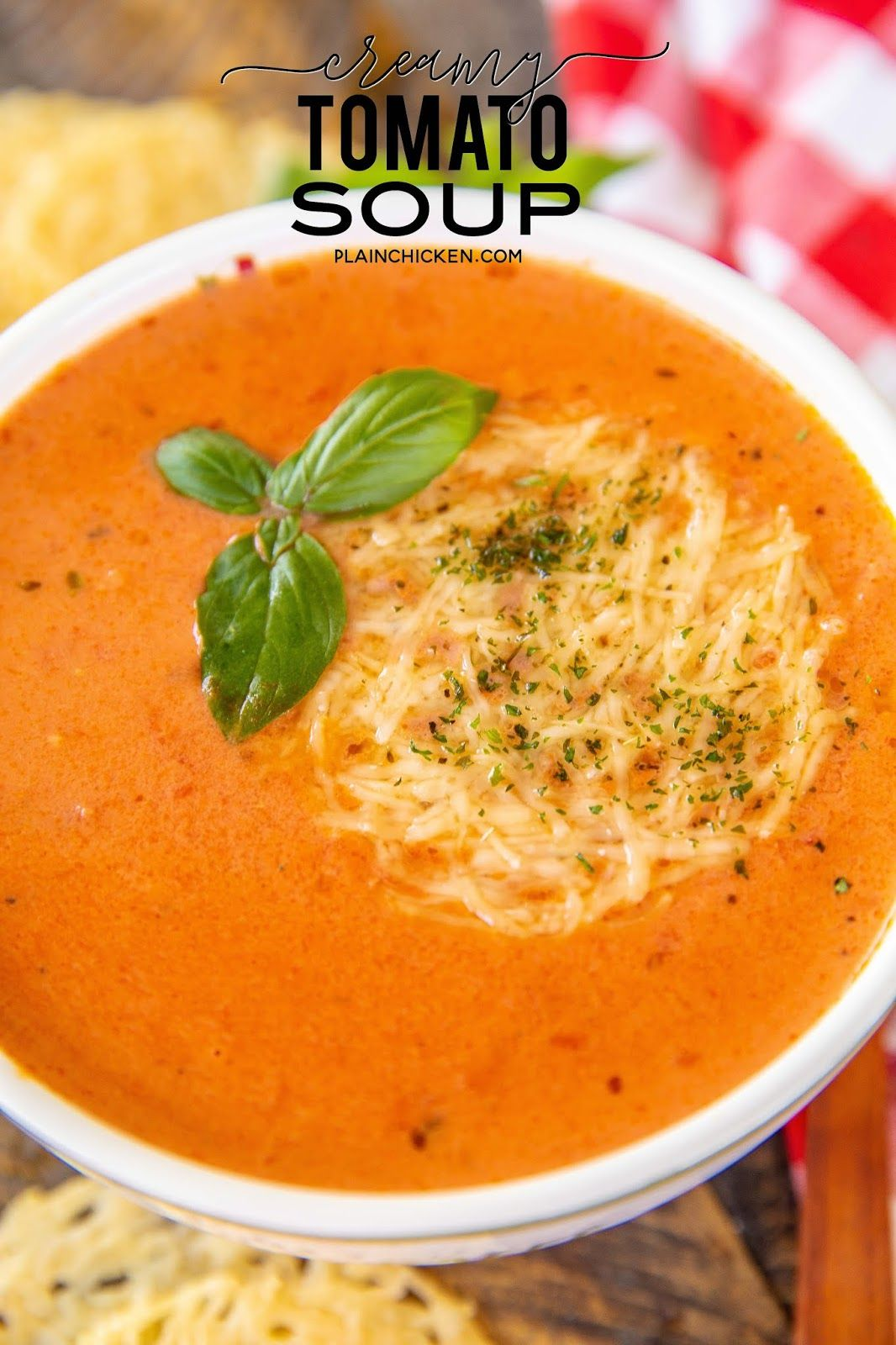 Creamy Tomato Soup - grown up version of my favorite soup as a kid. Shallot, butter, garlic, oregano, red pepper flakes, tomato juice, crushed tomatoes, chicken base, sugar, heavy cream, salt and pepper. We served the soup with some yummy parmesan crisps. Also delicious leftover!