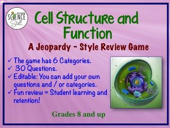 cell organelle jeopardy style review game cell structure. Black Bedroom Furniture Sets. Home Design Ideas