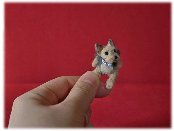 OOAK Needle Felted Yorkshire by mikepanchiAnimals on Etsy