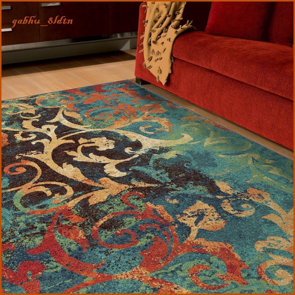 Details About Unique Watercolor Scroll Area Rug Teal Blue Red