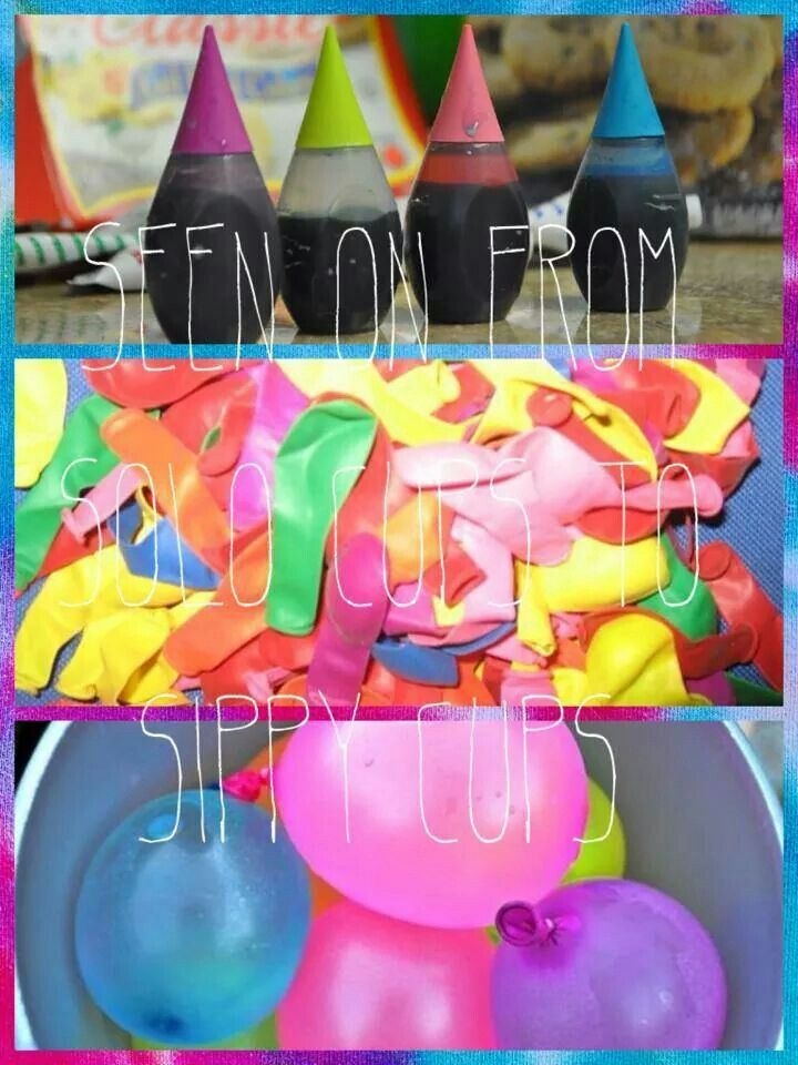 Colored water balloon fight! Put a few drops of coloring in