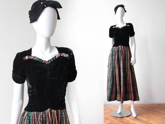 Vintage 1940's Black Silk Velvet and Tartan Silk by BombyxVintage