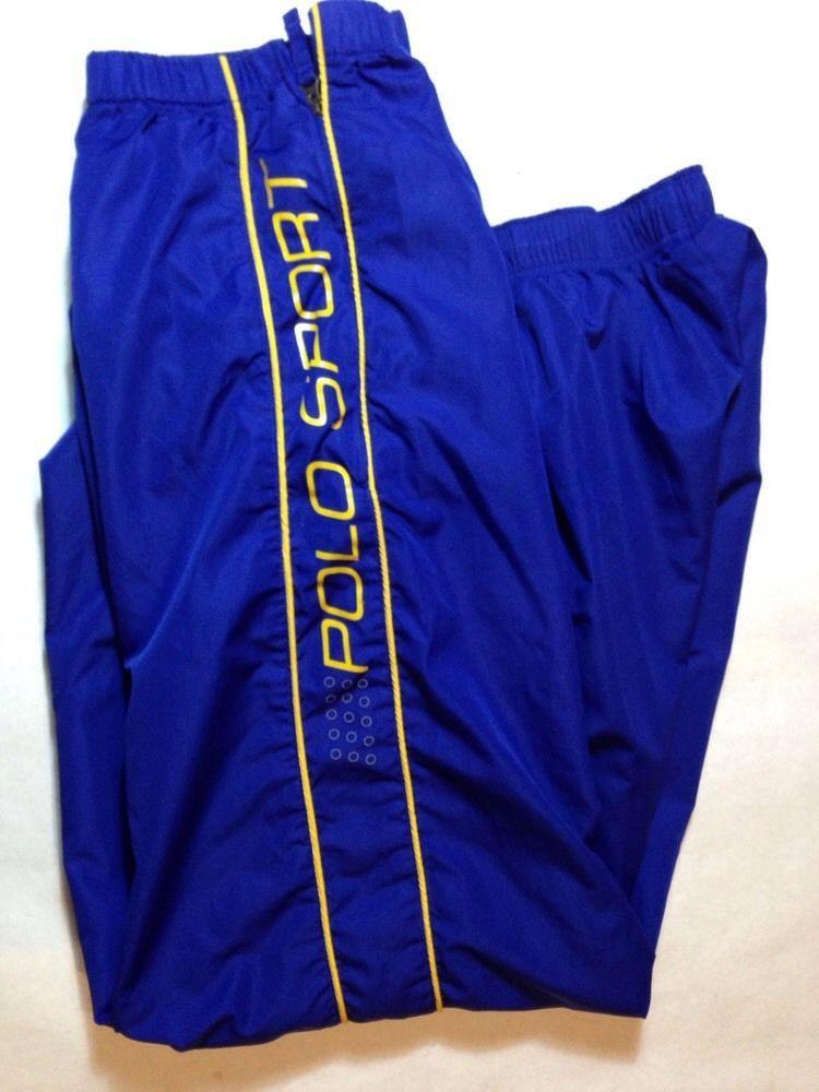 Vintage Polo Sport Ralph Lauren Warm Up Blue Sweats Pants M Nylon Track  da15bb50c86d0