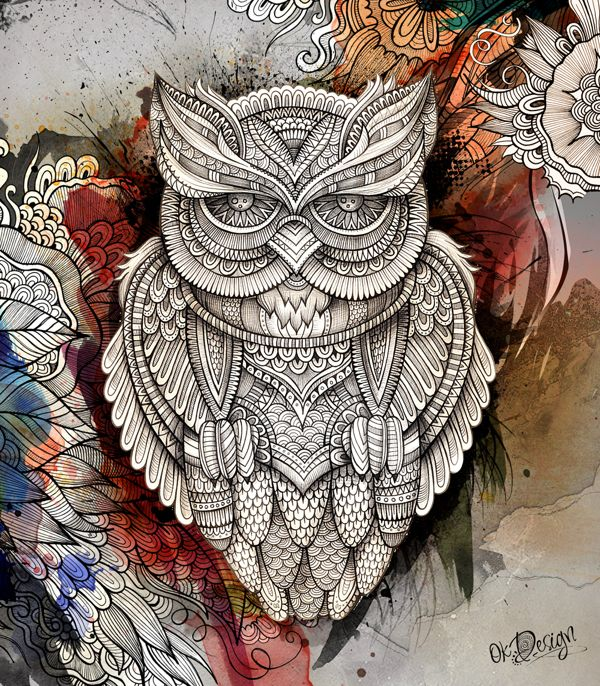 Owl illustration by balabolka , via Behance kind of creepy but super cool detail in the owl... just sayin