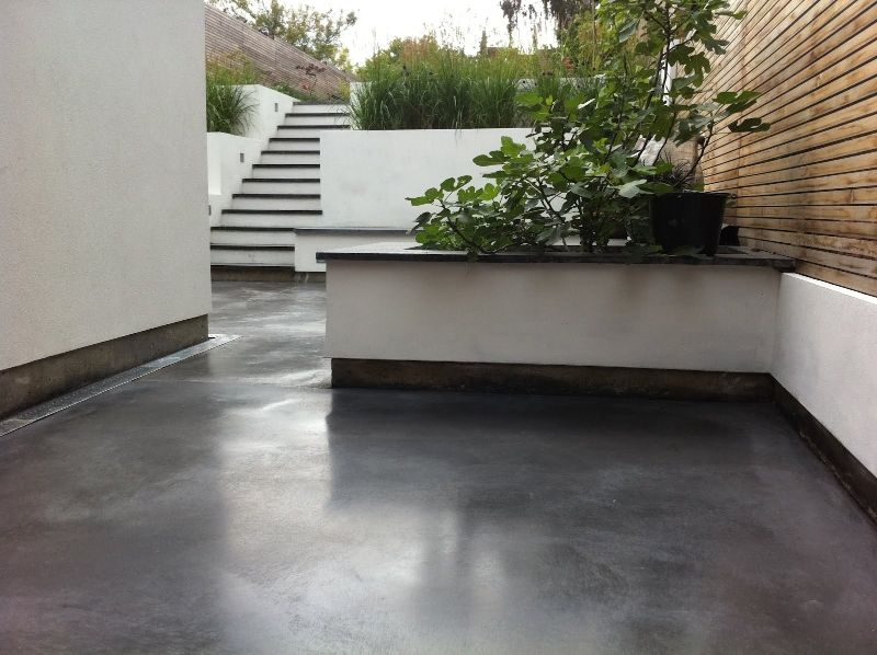 Too dark but nice sheen polished grey concrete floors for Stained polished concrete floor