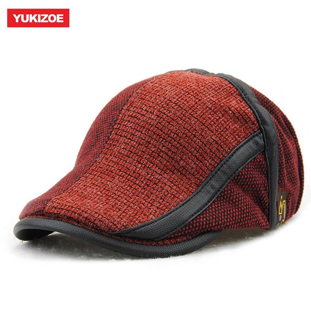 Yukizoe Winter Elderly Men Hat Newsboy Cap Flat Beret Cap For Male Thick  Wool Beret Peaked 5920c1841e14