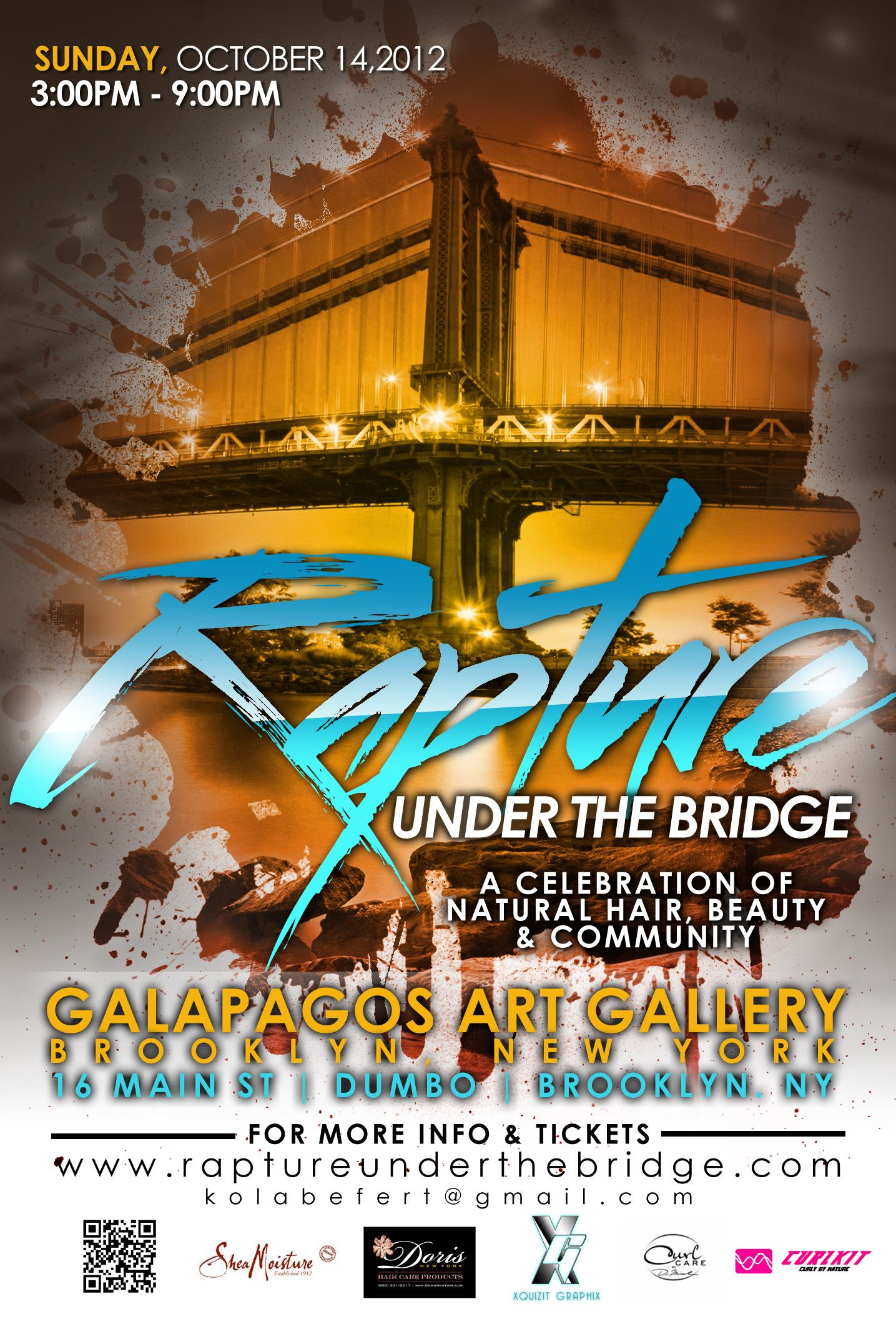 Featured Celebrity Panelists and Performance by Kindred the Family Soul! $20 - Brooklyn, NY October 14, 2012 3-9PM http://raptureunderthebridge.com