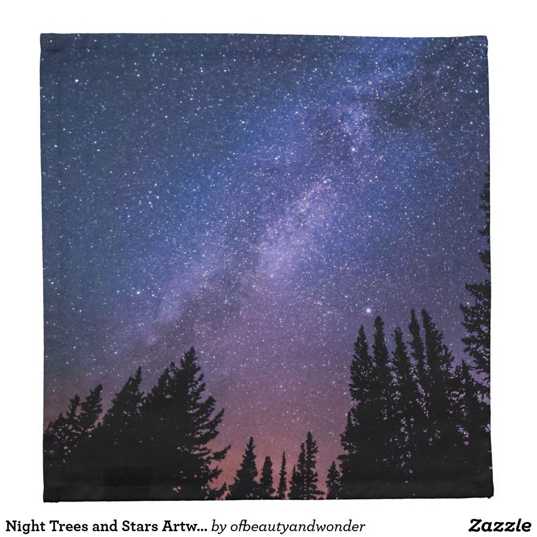 Night Trees and Stars Artwork | Cloth Napkin