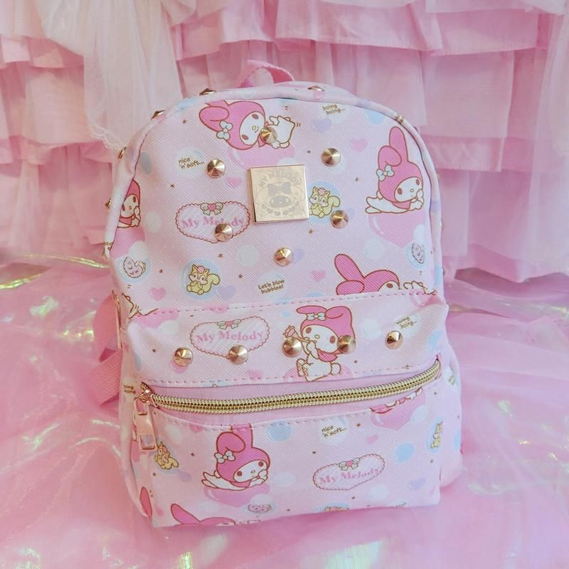 Hello Kitty large backpack girls schoolbag pink glitter NEW with Tag