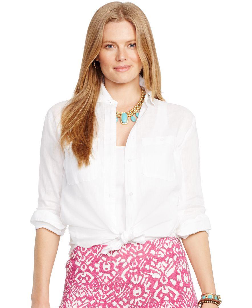 Lauren Ralph Lauren Plus Size Linen Boyfriend Shirt