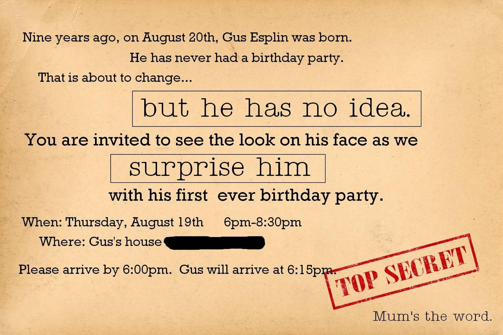 Surprise Birthday Party Invitations For Men Simple surprise birthday ...