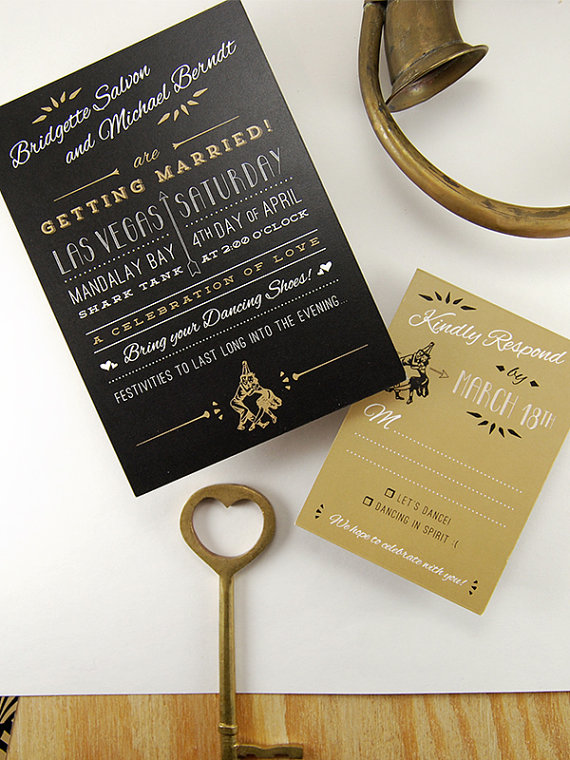 The Speakeasy Great Gatsby Inspired Vintage Invitations Black Gold Party W