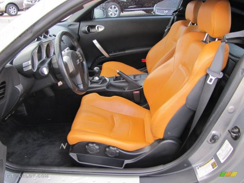 burnt orange grey and black auto interior 2005 nissan 350z touring coupe seats auto addiction. Black Bedroom Furniture Sets. Home Design Ideas