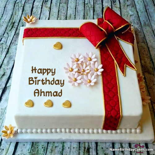 Super Happy Birthday Cake With Name Free Download For Friends Ahmad Birthday Cards Printable Inklcafe Filternl