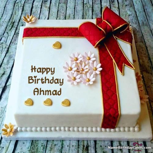 Terrific Happy Birthday Cake With Name Free Download For Friends Ahmad Funny Birthday Cards Online Benoljebrpdamsfinfo