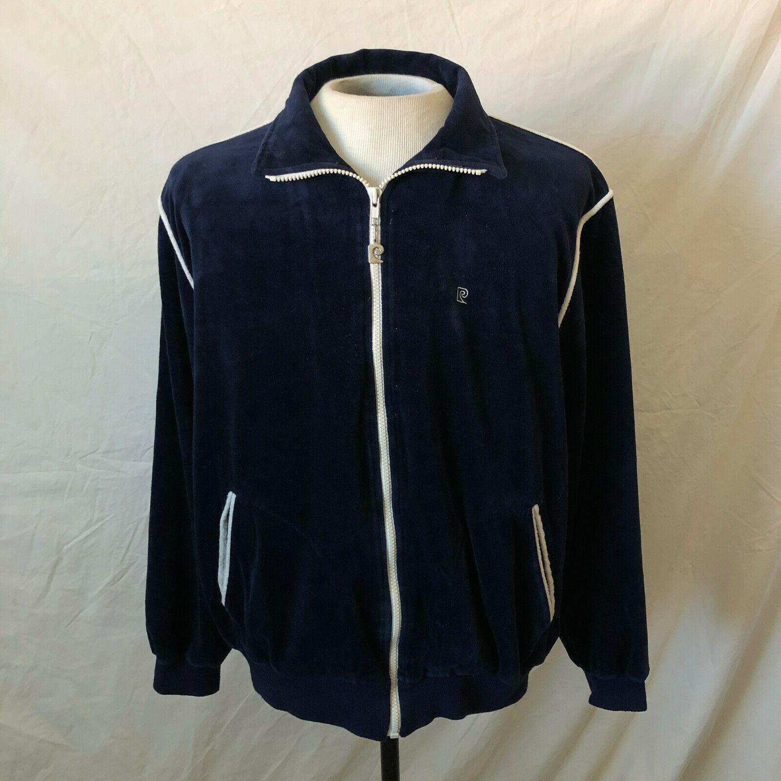 Vintage 80s Pierre Cardin Velour Zip Up Track Jacket Medium Blue Vtg Designer Track Jackets Zip Ups Medium Blue