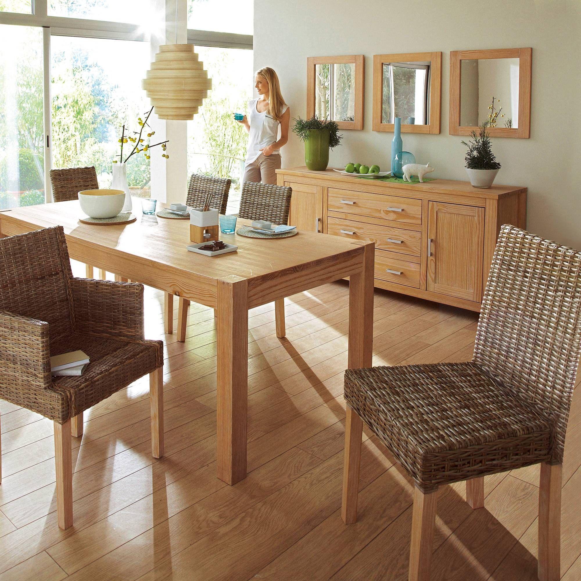 Table Rectangulaire 160 X 90 Cm 6 Couverts En Pin Et Plaque Pin Certifie Fsc Okyl 3 Suisses Mobilier De Salon Mobilier Et Decoration Maison