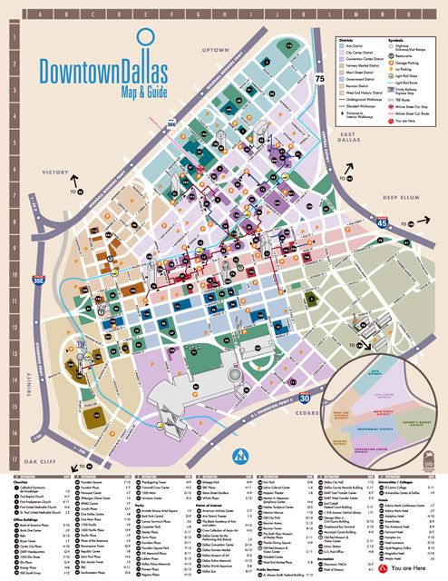 Downtown Dallas Map Downtown Dallas Map and Guide | Wayfinding | Maps | Dallas map, Map