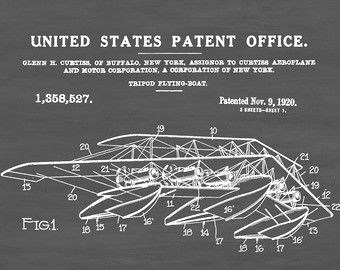 1920 curtiss flying boat patent print vintage airplane airplane patent prints patent drawings and blueprints as art by patentsasprints malvernweather Gallery