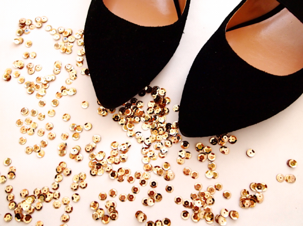 DIY: sequin cap toe flats