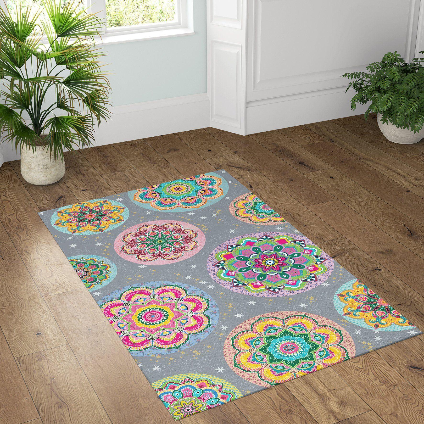 Floor Vinyl Rug Mandala Kitchen Rug Linoleum Colorful Area Rug