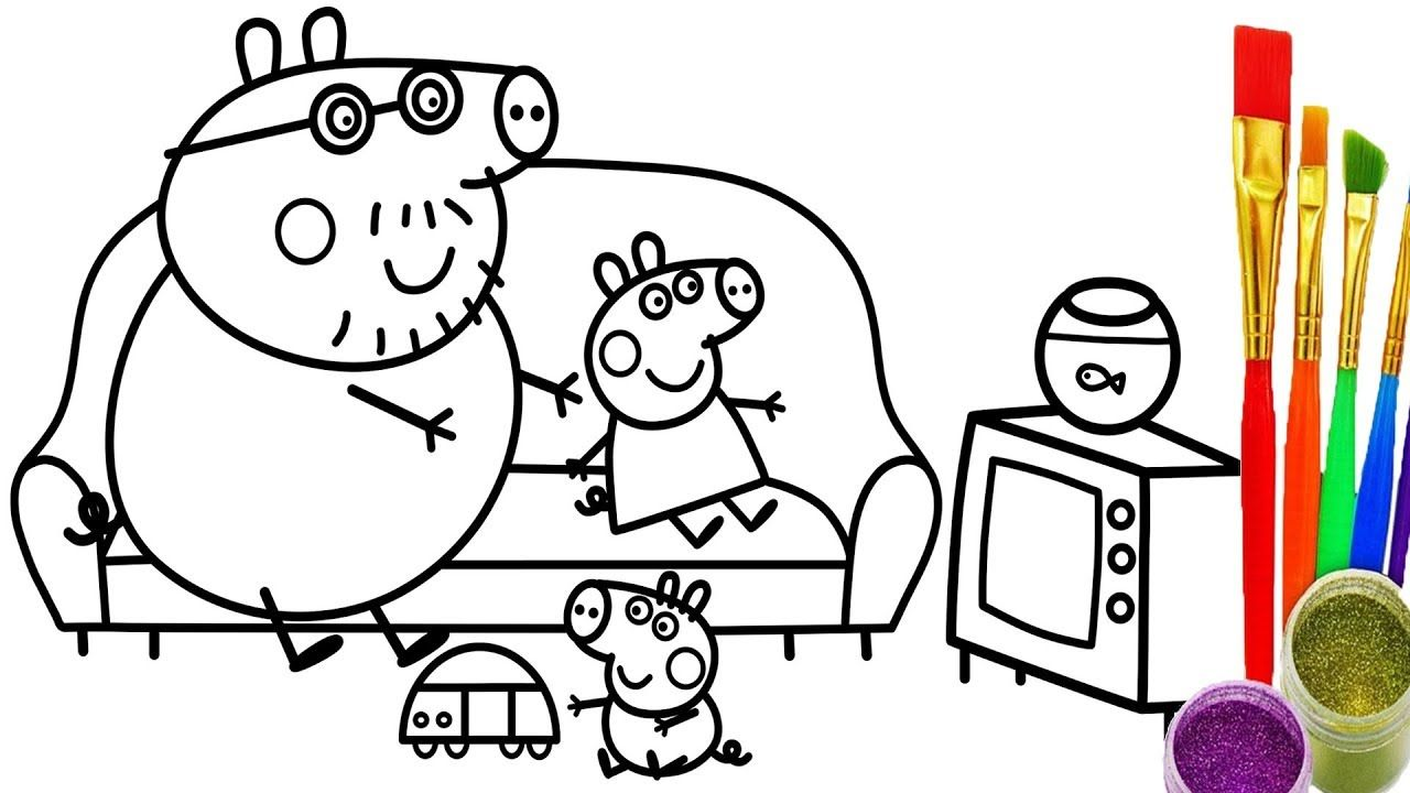 learn colors with peppa pig family coloring pages how to draw for kids